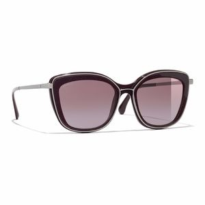 NWT Chanel Burgundy Quilted Butterfly Sunglasses